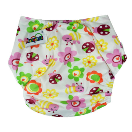Free Size Reusable Cloth Diaper With Insert (Flower Print) - Multicolor-0