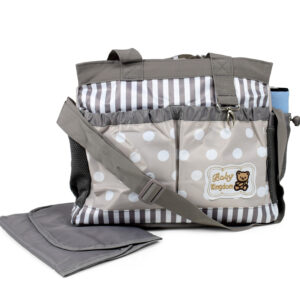 Diaper Bag (Mother Bag) With Free Changing Sheet - Grey-0