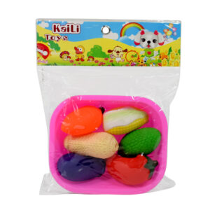 6 Pcs Mixed Colourful Vegetables Chu Chu Squeeze Me Toys with a Pink Basket Best Gift For Kids-0