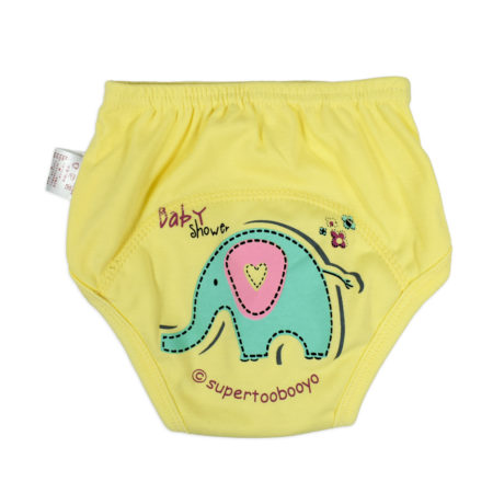 Baby Infants Breathable Soft Cotton Diaper Pants Reusable Nappy - Yellow-0