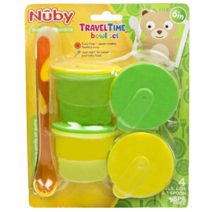 Nuby Travel Time Bowl Set - Green-0