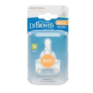 Dr Brown Natural Flow Level 3 Narrow Nipple Set of 2 - 6m+-0