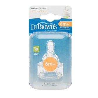 Dr Brown Natural Flow Level 3 Narrow Nipple Set of 2 - 6m+-0