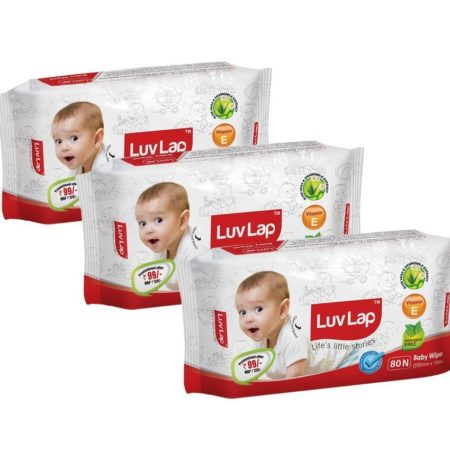 Luvlap Paraben Free Baby Wet Wipes with Aloe Vera (80 Wipes, Pack of 3, 240 Sheets)-0
