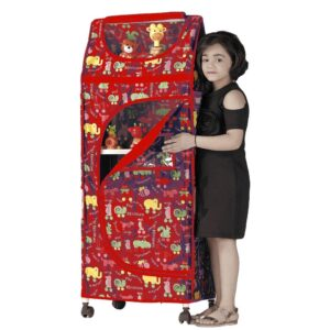 Childcare Multipurpose Large Toy Box, Foldable Almirah - Red-0