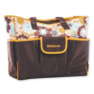 Childcare Baby Bag, Attractive Floral Design - Brown-0