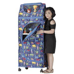 Childcare Multipurpose Large Toy Box, Foldable Almirah - Blue-0