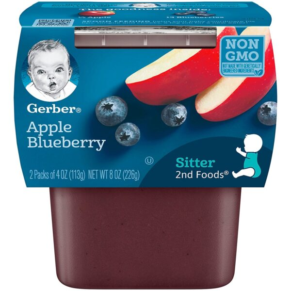 Gerber 2nd Foods Apple Blueberry, 113gm Tubs, 2 Count-0