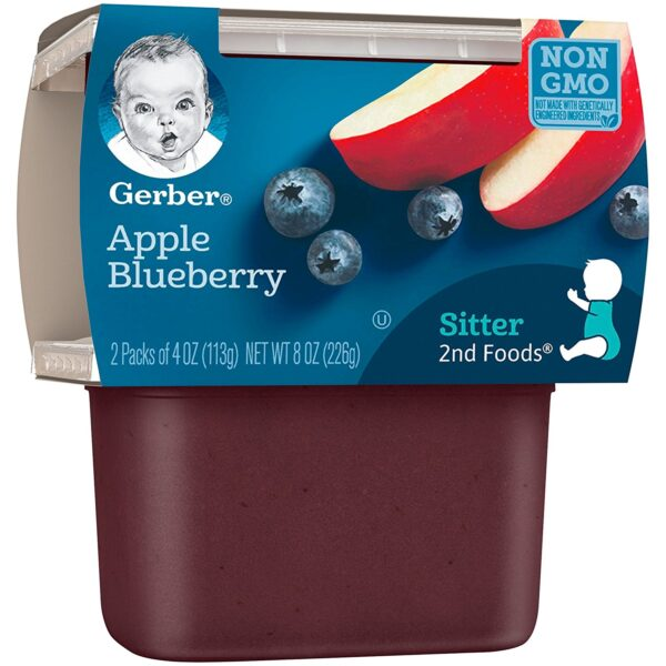 Gerber 2nd Foods Apple Blueberry, 113gm Tubs, 2 Count-24556