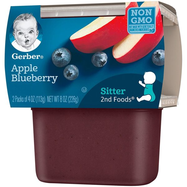Gerber 2nd Foods Apple Blueberry, 113gm Tubs, 2 Count-24551
