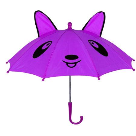 3D Pop-up Umbrella Bear Theme, Solid Color - Purple-0