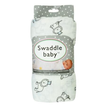 Organic Cotton Muslin Swaddle, Lion Print (Grey) - 47 Inch-0