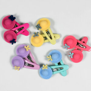 Hat Shape Tic Tac Hair Clips, Pack of 5 Pair - Multicolor-0