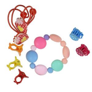Pack of Bracelet, Hair Band & Clutcher - Multicolor-0