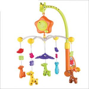 Five Star Cute Cartoon Deer Design Baby Mobile Cot Hanger Musical Light Bed Bell-0