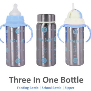 Papa Baby Multipurposable Steel Feeding Bottle - Blue-0