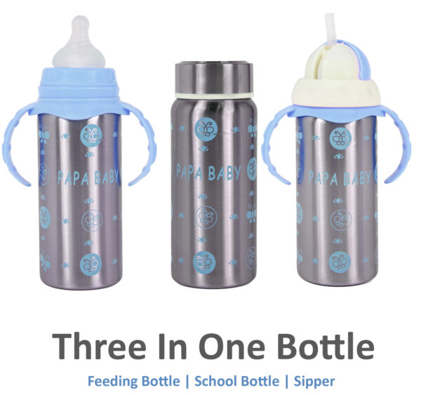 Papa Baby Multipurposable Steel Feeding Bottle - Blue-0