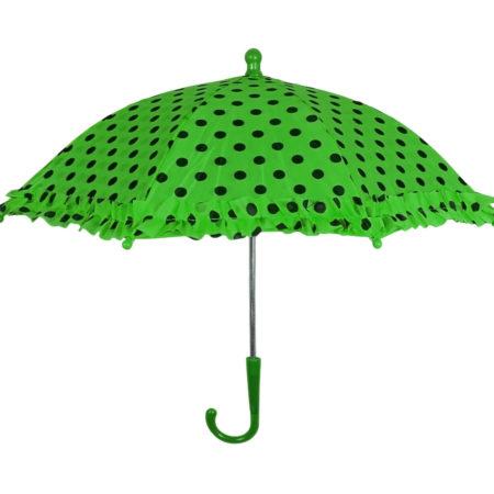 Polka Dot Printed Umbrella, Solid Color - Green-0