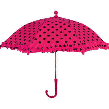 Polka Dot Printed Umbrella, Solid Color - Mehroon-0