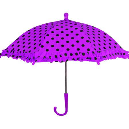 Polka Dot Printed Umbrella, Solid Color - Purple-0