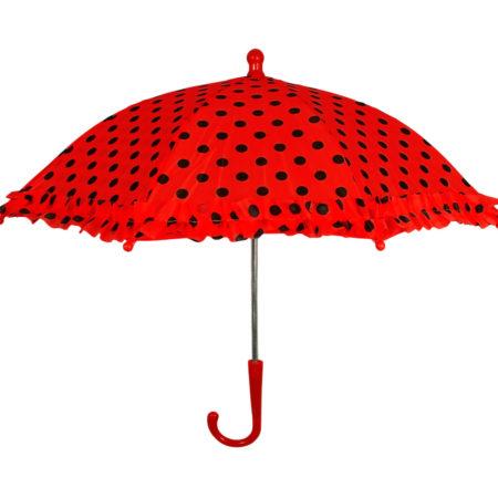 Polka Dot Printed Umbrella, Solid Color - Red-0