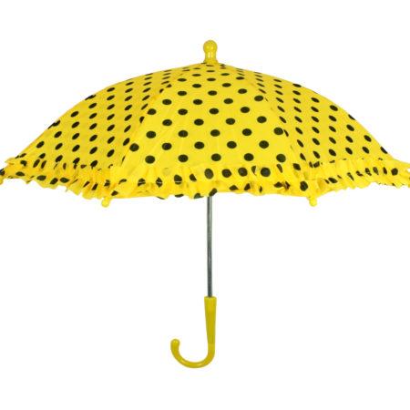 Polka Dot Printed Umbrella, Solid Color - Yellow-0
