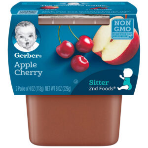 Gerber 2nd Foods Apple and Cherry Baby Food, 113gm Tubs, 2 Count-0