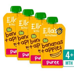 Ella's Kitchen Organic Banana & Apple (4M+) - 120g (Pack of 4)-0