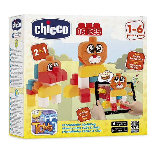 Chicco Game Construction Dog & Cat 15 Pieces, 12 Months-0