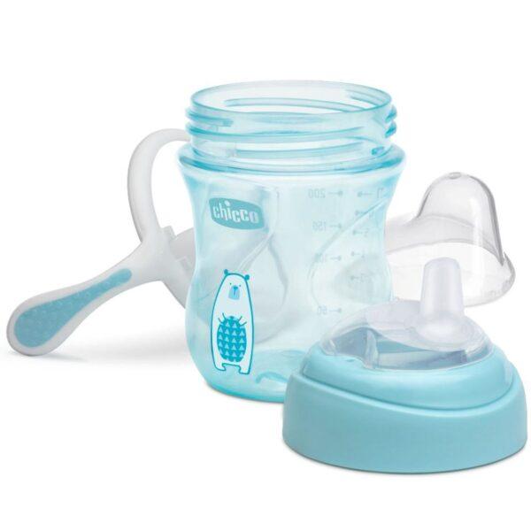 Chicco NaturalFit Soft Silicone Spout Transition Cup, 200ml (4m+) - Aqua-25479