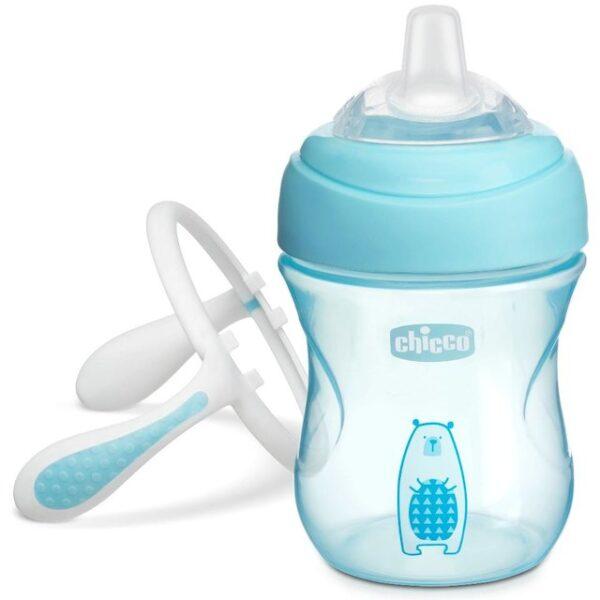 Chicco NaturalFit Soft Silicone Spout Transition Cup, 200ml (4m+) - Aqua-25480