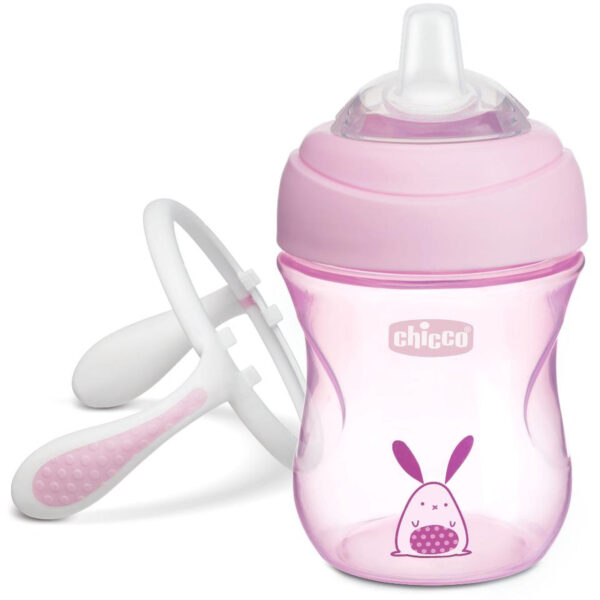 Chicco NaturalFit Soft Silicone Spout Transition Cup, 200ml (4m+) - Pink-25475