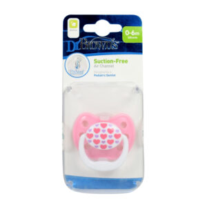 Dr Browns Suction Free Silicone Orthodontic Soother Stage 1 - Pink-0