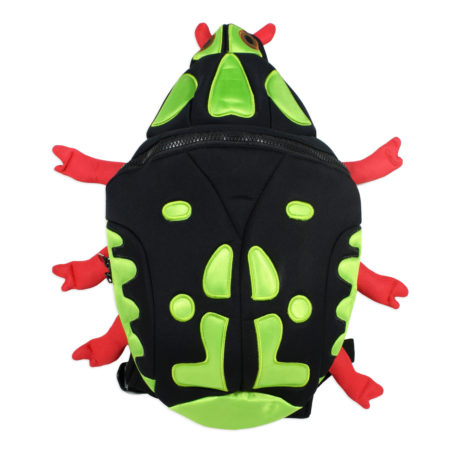 Kids School Bag, Bunny Ears - Green/Black-0