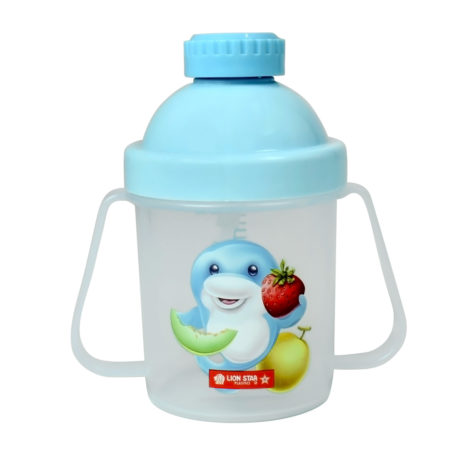 Lion Star Plastic Straw Cup With Handle (200ml) - Sky Blue-0