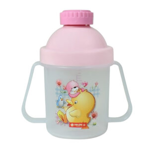 Lion Star Plastic Straw Cup With Handle (200ml) - Pink-0