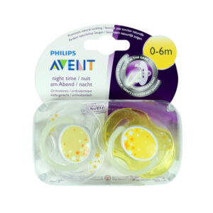 Philips Avent Night Time Baby Pacifier Yellow (0-6M) - Twins Packed-0