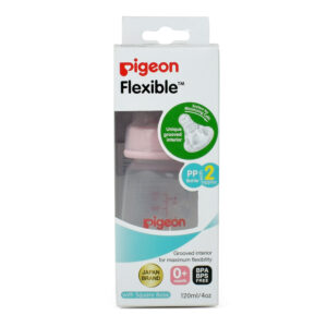 Pigeon Polypropylene Flexible Feeding Bottle Pink with Peristaltic 2 Nipples - 120 ml-0