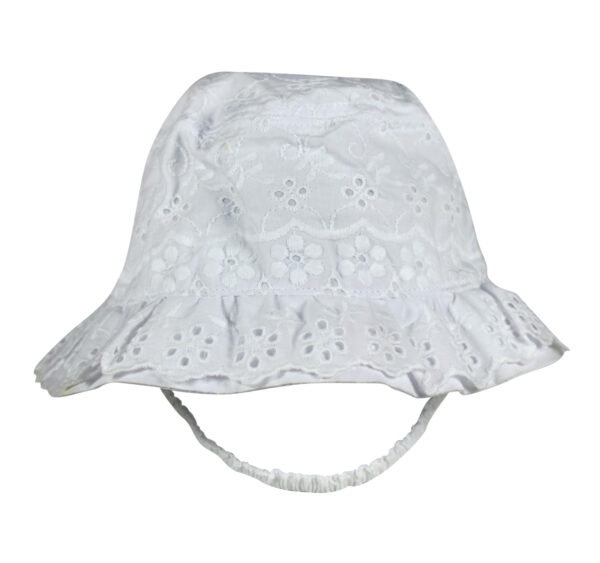 Embroidery Girls Fancy Summer Cap - White-0