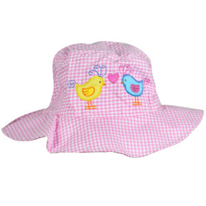 Check Print Girls Fancy Summer Hat - Pink-0