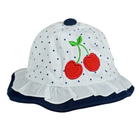 Cherry Applique Girls Fancy Summer Hat - White/Blue-0