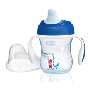 Chicco NaturalFit Semi-soft Spout Training Cup, 200 ml (6M+) - Blue-0