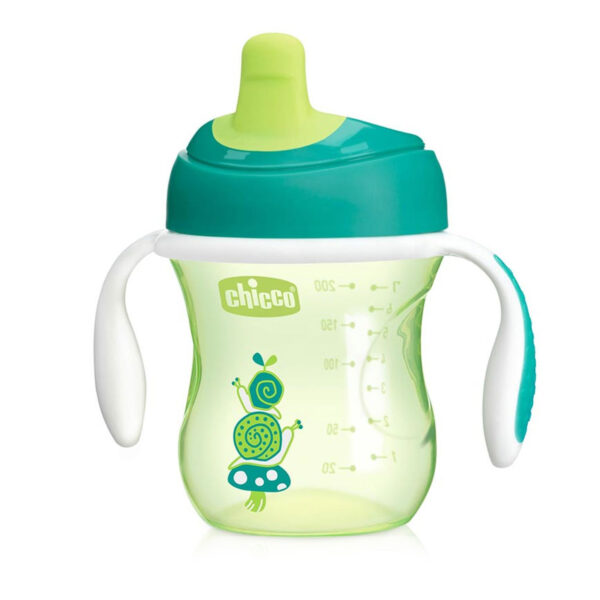 Chicco NaturalFit Semi-soft Spout Training Cup, 200 ml (6M+) - Green -0