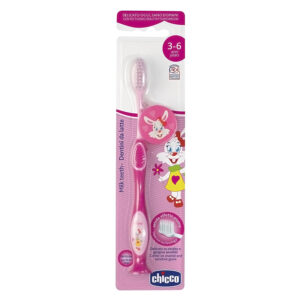 Chicco Milk ToothBrush For Kids 3 to 6 Years, Pink-0