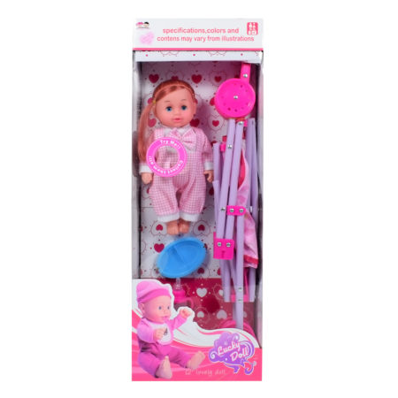 12 Inch Lovely Doll with Stroller - Pink-0