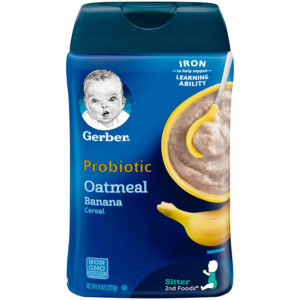Gerber Oatmeal Cereal, Probiotic oatmeal Banana ,Probiotic oatmeal Peach Apple - 227gm (Pack of 3)-0