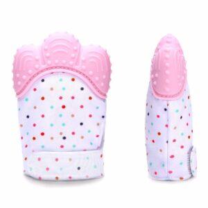 Teething mitten silicone BPA free Pink-0