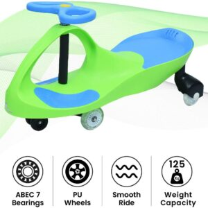 R for Rabbit Iya Iya Swing Car for Kids -Strongest & Smoothest Twister - Magic Car with PU Wheels (Green Blue)-0