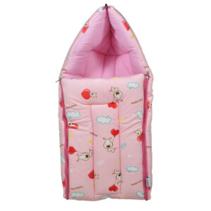 Quilted Soft Foldable Sleeping Bag Alphabetic Print - Pink-0