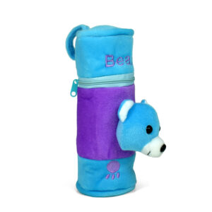 Feeding Bottle Cover With Bear Plush Toy - Blue-0